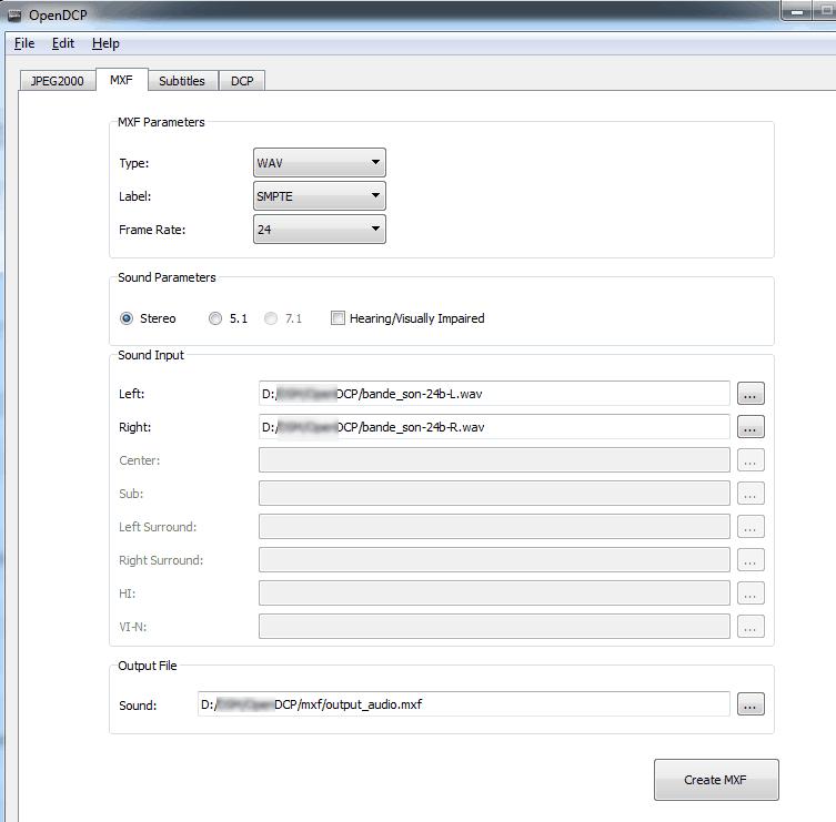 Onglet MXF dans OpenDCP avec WAV sélectionné comme source