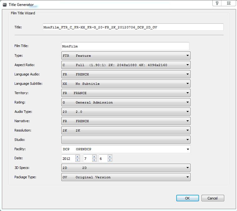 Une copie d'écran du Title Generator dans OpenDCP