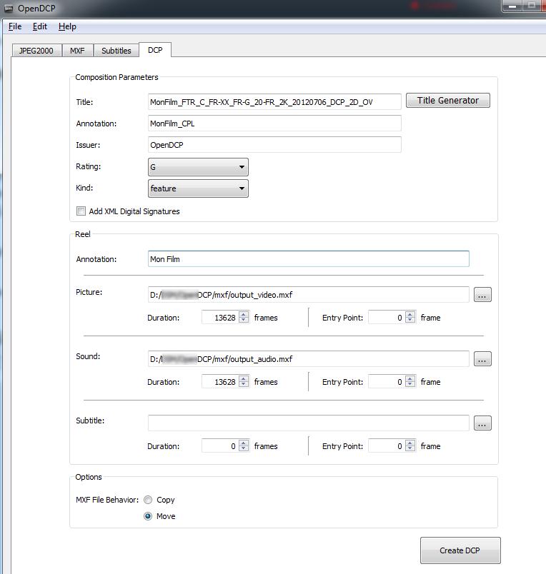 Capture d'écran de l'onglet DCP dans OpenDCP
